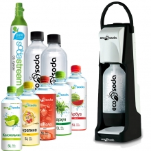 EcoSoda Smart черный/белый + 2 доп. бутылки + 1 доп. баллон + 5 сиропов